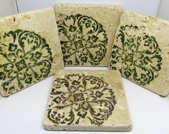 Tile Coasters - Set of Coasters - Table Coasters - Medallion Coasters - Coasters - Drink Coasters - Rustic Coasters - Set of 4 Coasters