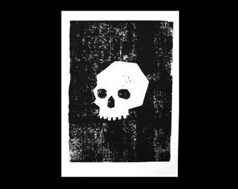 Skull A5 - Linocut Print