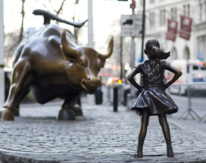Fearless Girl Statue Framed,Wall Street, New York Framed Photography, Black and White Print, NYC, Girl Power, Girls Room Decor, Wall decor