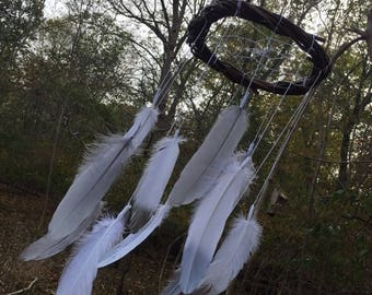 Dream Catcher Mobile with White and gray Feathers,Twig Dream Catcher Mobile with White Feathers, Nursery Decor, Baby Mobile, Feather Mobile,