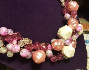 Pink shells crocheted wire necklace