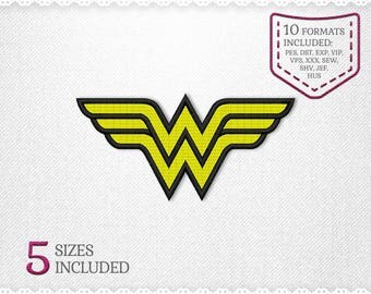 Wonder Woman Logo Shield Embroidery Machine Design - 5 Sizes - INSTANT DOWNLOAD - Applique, Embroidery, Designs