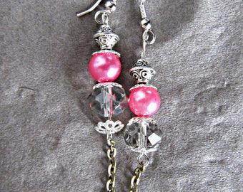 Fancy pink Oriental earrings