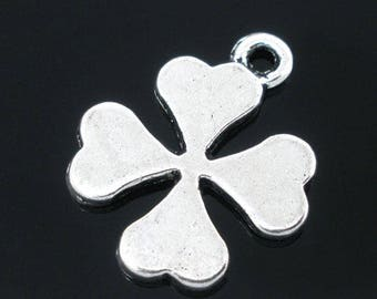 1 charm clover four leaf silver plated 19 * 15 mm