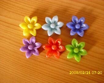 set of 6 cabochons glitter mixed 17 X 6 mm