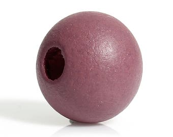 set of 20 cypress wood beads pink /mauve(voir marron) 10 mm (hole 3 mm)
