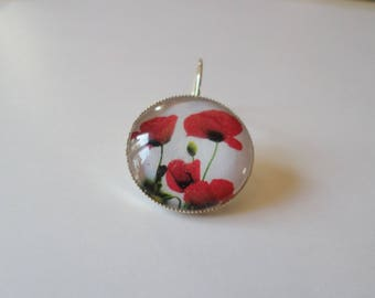 SOLD to the PIECE, earring, glass cabochon, 3 poppies