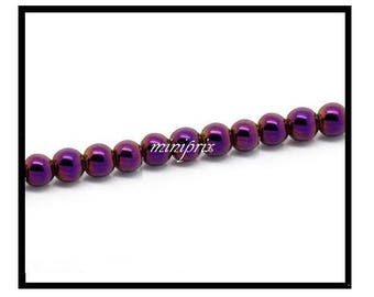 X 5 round Hematite beads purple 10mm.
