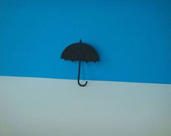 Cut little black umbrella for scrapbooking and card