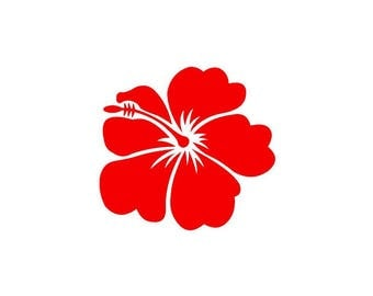 Hibiscus red vinyl sticker shiny 9.2 cm height (outer glass, ref: H)
