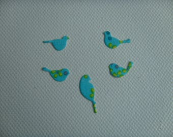 Set of 5 mini bird decoupage flowers for scrapbooking and card