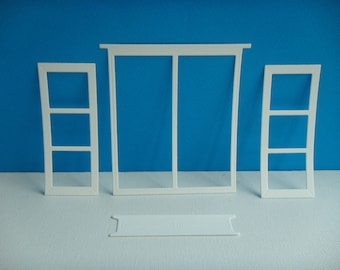 Cut set large window and planter for creating white drawing paper