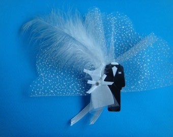 Kit magnetic pin on transparent tulle couple in snow with lavender to make you even