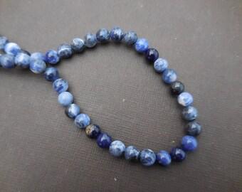 Sodalite: 15 mm round beads 6 - precious stones blue