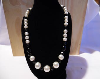 Necklace Pearl Swarovski Crystal, Czech glass, ivory and black.