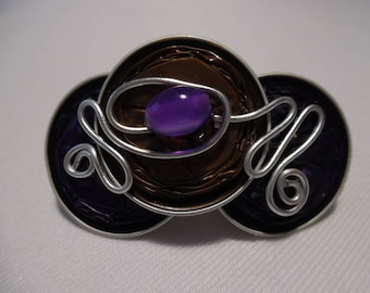Barrette customized with purple and Brown nespresso capsules, glass bead.