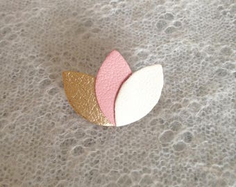 "Brooch ""3 petals"" gold/pink/cream leather"