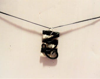 Necklace braiding abstract black and white
