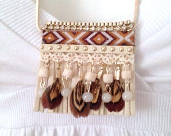 This boho necklace pendant ethnic boho chic beige peace