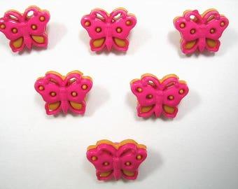 LOT 6 buttons: Butterfly pink/cream 15mm