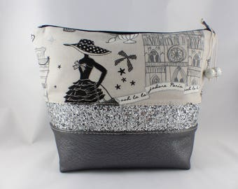 Faux leather, cotton make-up and silver sequins band Kit