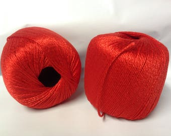 10 balls of cotton brilllant - red made in FRANCE