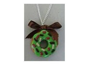 Pistachio donut necklace