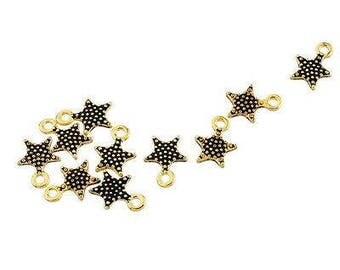 5 black metal star charm gold plated 10 x 8 mm