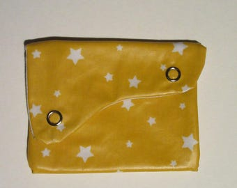 Wallet in coated cotton yellow stars