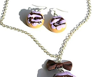 Purple chocolate fimo donuts earrings and necklace