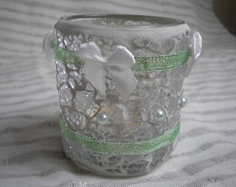 SHABBY GREEN CRACKLE GLASS CANDLE