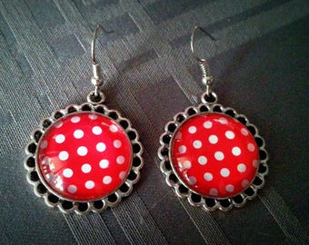 Earrings dangle, cabochon glass 20mm, red and white polka dots patterns