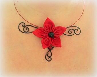 satin black red agate jade Flower necklace