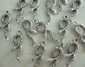 Set of 5 silver metal snake charm