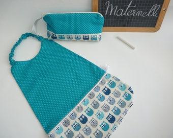 Towel canteen/kindergarten, Kit, turquoise OWL