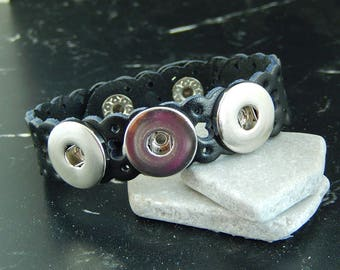 1 leather bracelet triple chunk