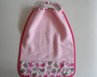 Table or canteen, fabric and pink Terry towel birds 30 cm x 35 cm with elastic