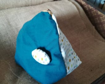 Vintage blue and printed pouch