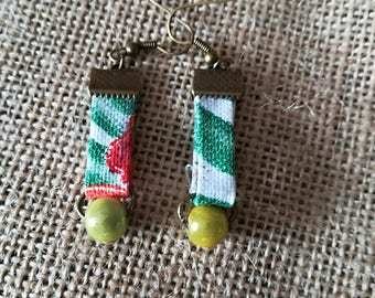 Tropical fabric earrings