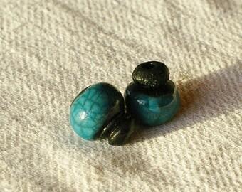 1 set of 2 beads blue and black Raku