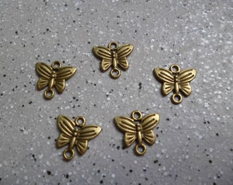 5 metal Butterfly charms bronze 13 mm