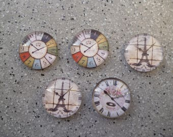 5 illustrated round cabochon glass 20 mm watch