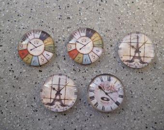 Lot de 5 Cabochons ronds illustrés montre 20 mm, accessoires bijoux