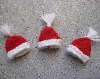 3 Santa hats knitted woolen red handmade