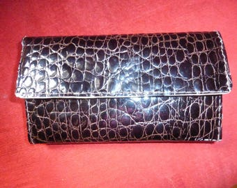 Brown croco imitation leather wallet