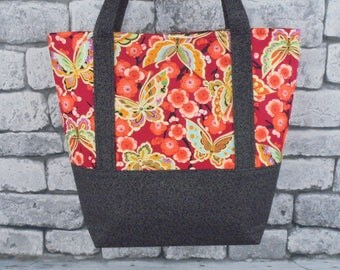 butterfly lined tote bag/diaper bag