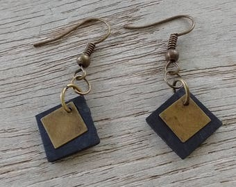 Earrings diamond in inner tube recycled and sequin bronze - dangling earrings - earrings recycled tire - vegan leather