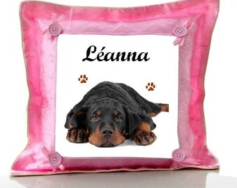 Cushion Pink Rottweller personalized with name