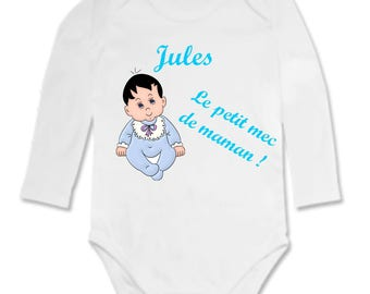 Mommy's little man personalized with name Bodysuit