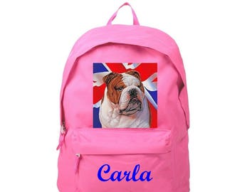 Backpack pink English Bouldog personalized with name